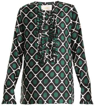 La Doublej - Tuxedo Geometric Print Silk Shirt - Womens - Green Print