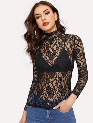 Shein Lace Stand Collar Skinny Blouse