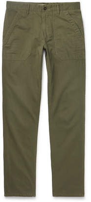 Incotex Slim-Fit Herringbone Cotton and Modal-Blend Trousers - Men - Green