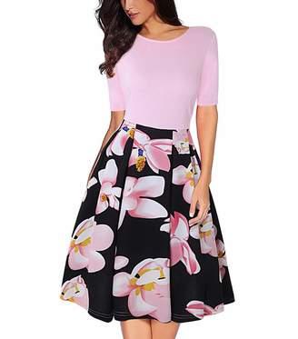OLADY Women's Vintage Patchwork Half Sleeve Slim Fit Floral Swing Cocktail Dress (L, )