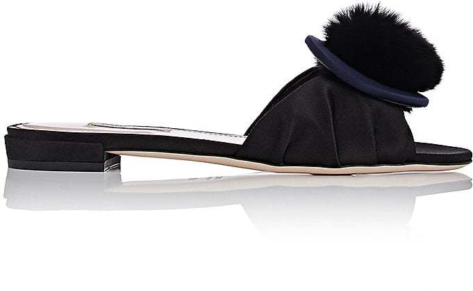 Miu Miu Women's Fur Pom-Pom Satin Slide Sandals