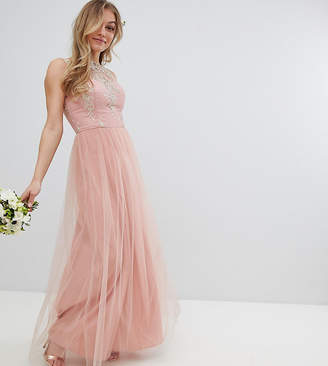 Chi Chi London Petite Sleeveless Maxi Dress with Premium Lace and Tulle Skirt