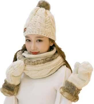 3bb6365526e Turkoni Winter Warm Women Wool Hat Scarf Gloves Set Knitted Hat Scarf Mitten