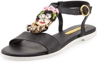 Rupert Sanderson Frida Beaded Leather Sandals, Multi