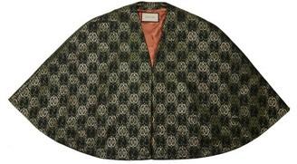 Gucci Gg Logo Metallic Brocade Cape - Womens - Green