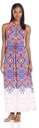 London Times Women's Petite Ikat Tile Halter Maxi Dress