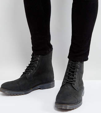 Asos DESIGN Lace Up Boots In Black Leather With Ribbed Sole