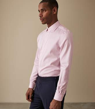Reiss ORDER BY MIDNIGHT DEC 15TH FOR CHRISTMAS DELIVERY REMOTE REG REGULAR FIT SINGLE CUFF SHIRT Pink