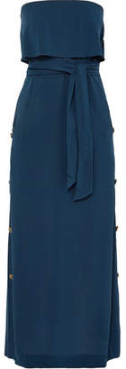 Vix Glenda Strapless Ruffled Washed-voile Dress - Navy