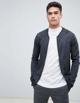 Lindbergh 100% merino zip through jumper in grey
