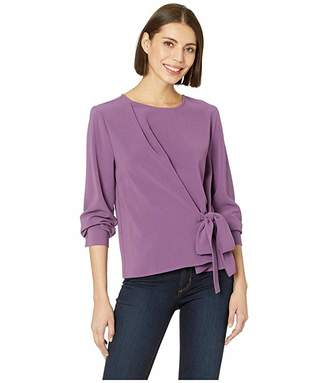 Vince Camuto Long Sleeve Side Tie French Crepe Blouse