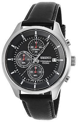 SeikoSeiko SKS539P2 Men's Neo Sports Chronograph Black Calf-Skin and Dial