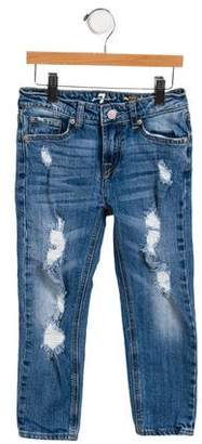 7 For All Mankind Girls' Distressed Five-Pocket Jeans