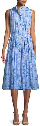Carolina Herrera Button-Front Sleeveless Floral-Print Poplin Midi Dress