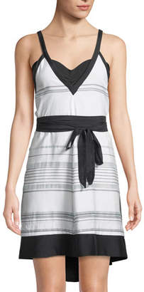 Proenza Schouler Striped V-Neck Coverup Sun Dress