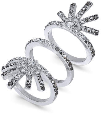 INC International Concepts I.N.C. Silver-Tone 3-Pc. Set Ombré Pavé Bar Stack Rings, Created for Macy's