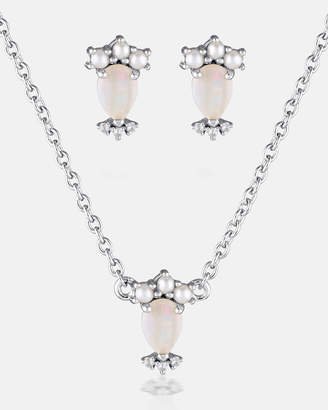 At The Iconic Madly Wildly Set Opal Pearl Diamond Silver Necklace Earrings