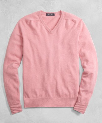 Brooks Brothers Golden Fleece 3-D Knit Cashmere V-Neck Sweater