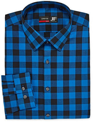 Jf J.Ferrar Tartan Trend Easy-Care Stretch Mens Point Collar Long Sleeve Stretch Dress Shirt