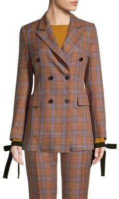 Beatrice. B Colors Conversation Double Breasted Houndstooth Blazer