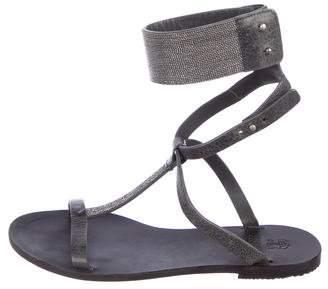 Brunello Cucinelli Embellished Leather T-Strap Sandals