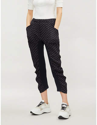 Stella McCartney Logo-print ruched cropped crepe trousers