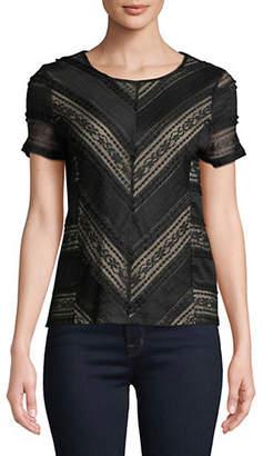 Calvin Klein Short-Sleeve Ruffled Lace Top