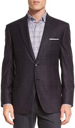 Brioni Plaid Two-Button Jacket, Aubergine/Gray