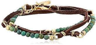 Ettika Turquoise Semi-Precious Stones and Brown Deerskin Leather Wrap Bracelet