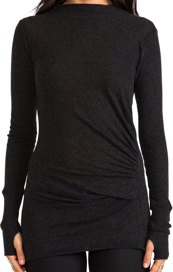 Enza Costa Cashmere Ruched Pullover Sweater