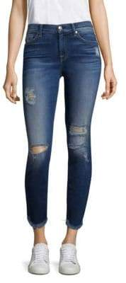 7 For All Mankind Ankle Skinny Ripped Raw Hem Jeans