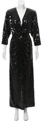Oleg Cassini Long Sleeve Sequin Dress