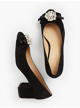 Talbots Isa Block-Heel Pumps - Jewel-Embellished