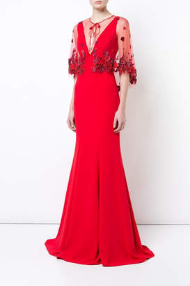 Marchesa Crepe Evening Gown