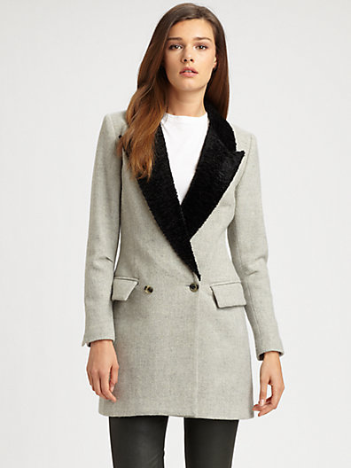 Smythe Faux Fur-Collar Coat