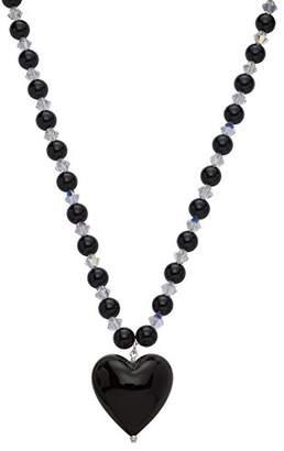 Glass Heart Amanti Venezia Black Murano Necklace of Length 42-46.5 cm