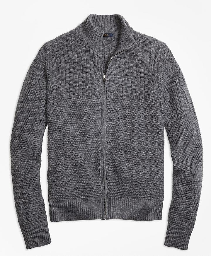 Brooks Brothers Wool Cashmere Heritage Textured Full-Zip Sweater