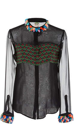 ROOPA Hasri Silk Georgette Print And Embroidered Shirt