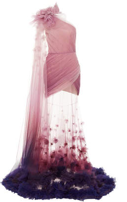 Pamella Roland Ombré Floral-Embellished Double-Layered Tulle Gown Size