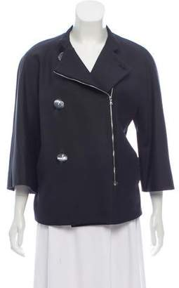 Isaac Mizrahi Collarless Zip-Up Jacket