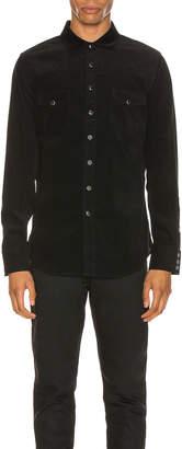 Saint Laurent Classic Western Corduroy Shirt in Black Rinse | FWRD