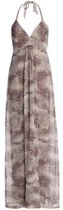 Heidi Klein Snake-Print Silk-Crepe De Chine Halterneck Maxi Dress