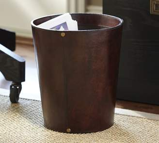 Pottery Barn Saddle Leather Trash Bin