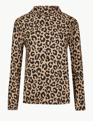 Marks and Spencer Cosy Animal Print Funnel Neck Top