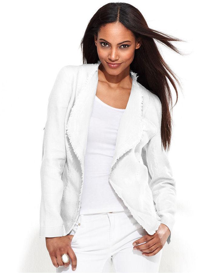 INC International Concepts Petite Jacket, Draped Frayed Linen