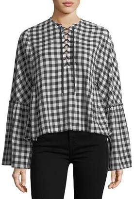 McQ Lace-Up Bell-Sleeve Top