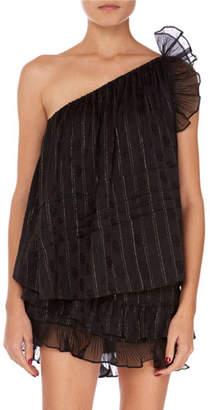 Isabel Marant Melody Shimmer One-Shoulder Ruffle Blouse