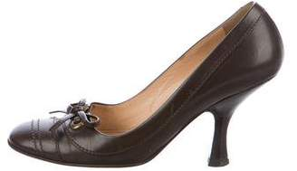 Chanel Leather Bow-Adorned Pumps