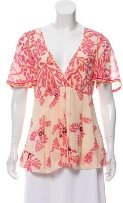 Temperley London Floral Print Silk Top