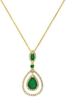 Effy 14K Yellow Gold Diamond Emerald Pendant